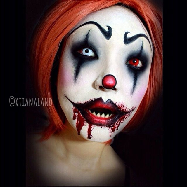 Scary Clown Makeup - Bing Images | Halloween Fun | Pinterest | Red Contacts White Contact ...