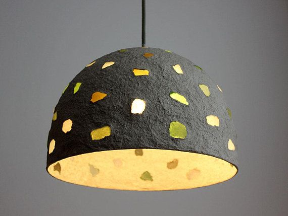 Paper Mache Pendant Lamp With Sea Glass Recycled Paper Paper Lampshade Pendant Light Pendant Light Set