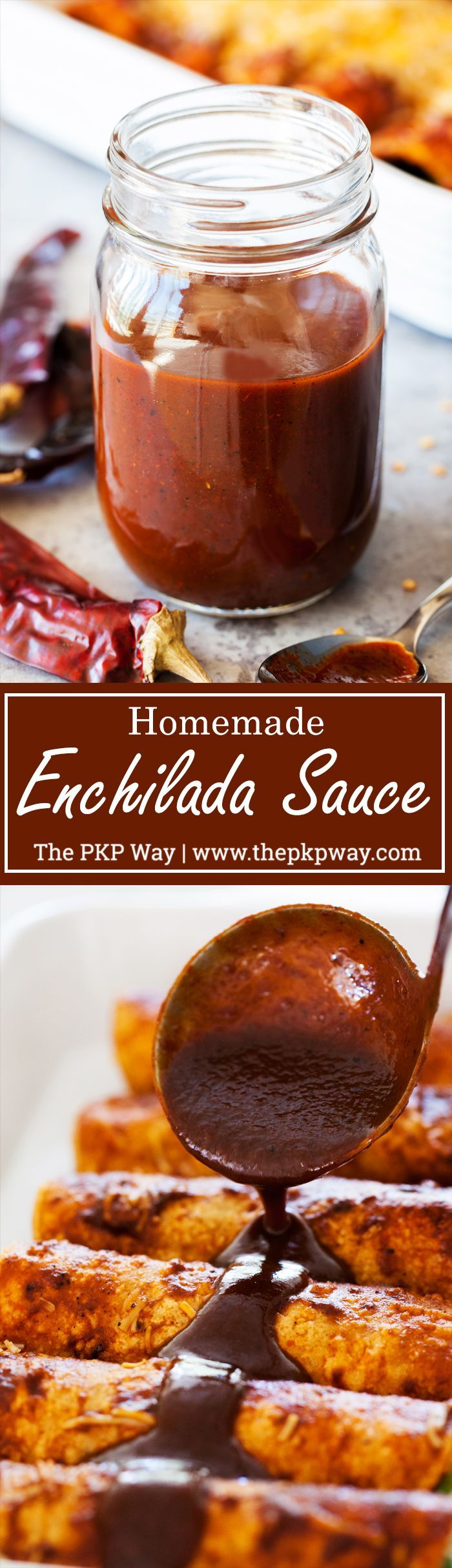 A rich and thick Red Enchilada Sauce made entirely from scratch using fresh garlic and guajillo chilis.