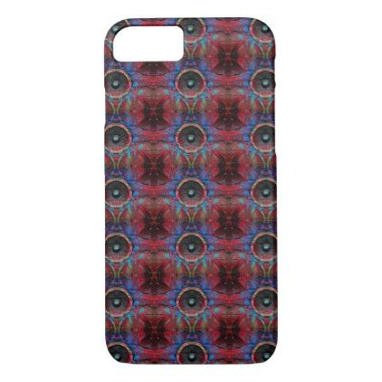 Red music speakers on a cracked wall pattern iPhone 8/7 case - cool gift idea unique present special diy