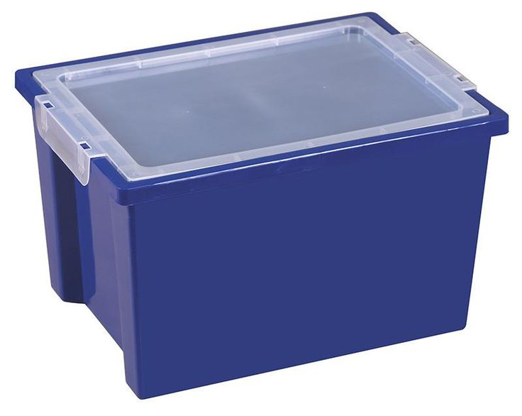ECR4Kids ELR-0723-BL Large Storage Bins with Lid - Blue - Set of 20