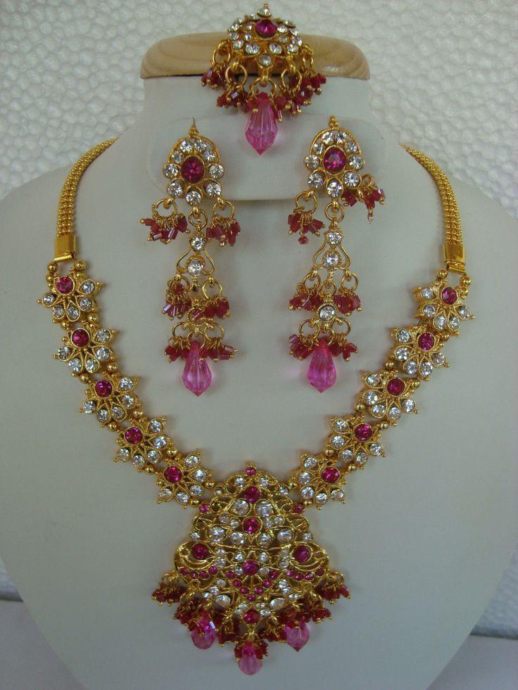 Bolly Wood Bridal Kundan Pink Stone Necklace Set With Earring & Tikka 3300