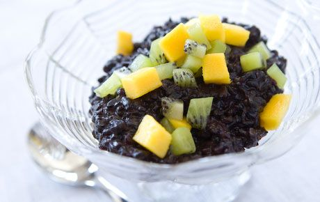 Forbidden black rice originated in China. Although the rice may initially look black, it's really dark purple and will color its cooking liquid with a beautiful lilac tint. Enjoy this rice pudding hot, cold or at room temperature with equally delicious results. Garnish with a bit of shredded coconut, if you like.