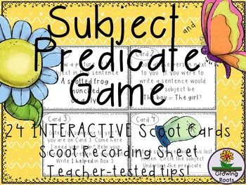 This Subject and Predicate scoot game is great review and practice for identifying subjects and predicates! Aimed at second graders and up, this interactive game offers a fun twist on skill practice. Subject and Predicate Scoot is fun and engaging! Interactive, it fills a niche that gets kids moving, collaborating and learning at the same time!