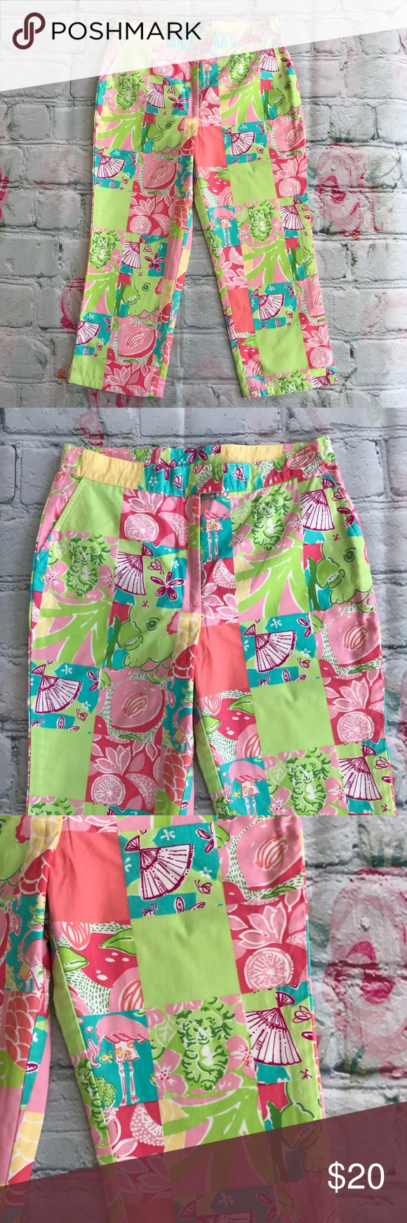 Lilly Pulitzer Patchwork Capris White Label SZ 10 Super cute capris from Lilly Pulitzer, white tag, Size 10 Girls. Fabulous Patchwork print in pretty pastel colors. Pockets at hips, concealed zipper, fully lined. 100% cotton(lining is a poly/cotton blend) machine washable.   Laying flat measurements;  12 1/3 inches across waist  Overall length 26 1/2 inches Lilly Pulitzer Bottoms Casual