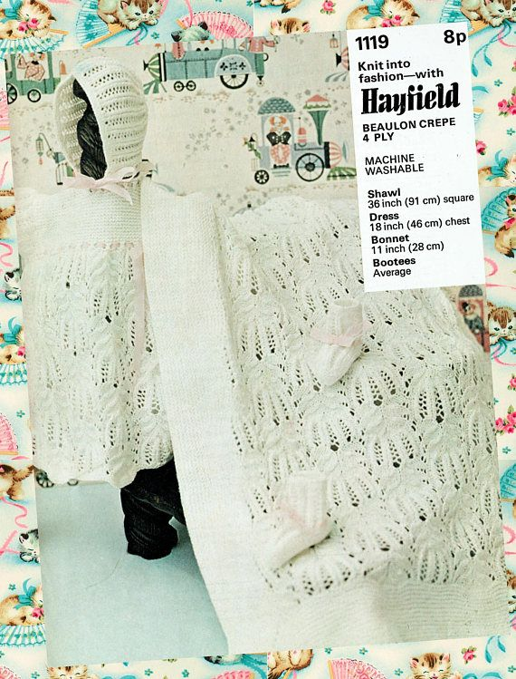 Original Vintage Baby Christening Knitting Pattern Hayfield