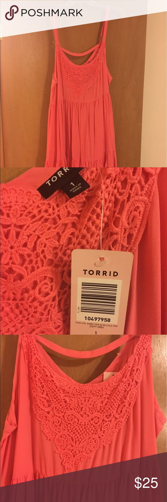 NWT Coral sundress NWT coral sundress with lace collar. Torrid, size 1. torrid Dresses Midi