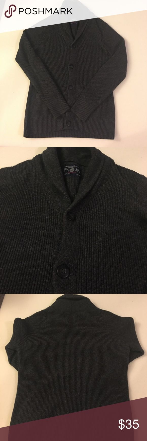 Men's Shawl Cardigan Men's Cardigan. Shawl Collar. Charcoal Grey. Athletic Fit. XS Great Condition! Make an offer!!!! American Eagle Outfitters Sweaters Cardigan