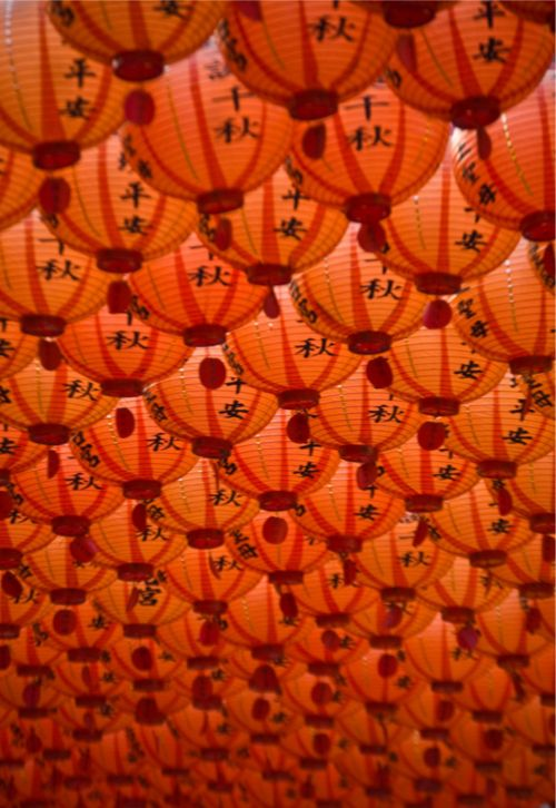 Chinese lanterns. Remember Raise The Red Lantern? This image reminds me of that film...