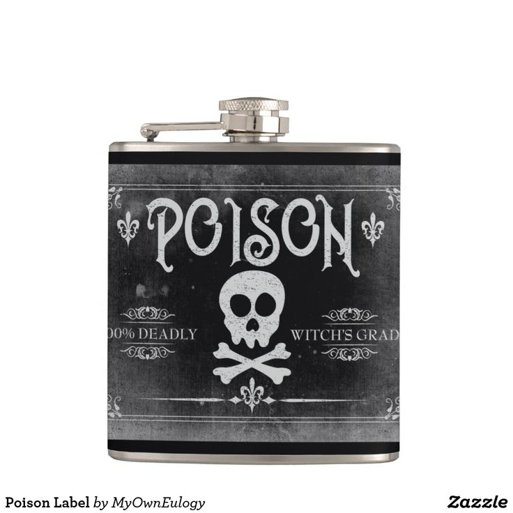 Poison Label Hip Flask