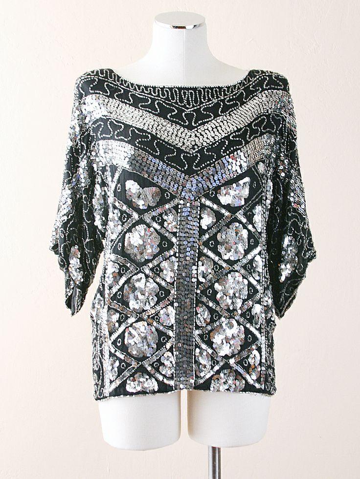 vintage sequin & silk blouse