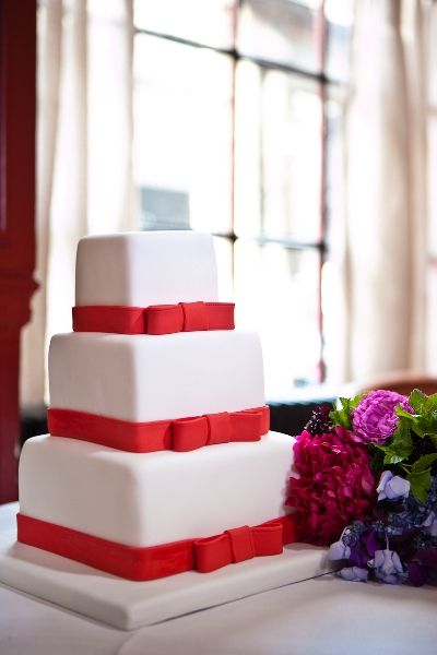 white and red wedding cake... Wedding ideas for brides, grooms ...