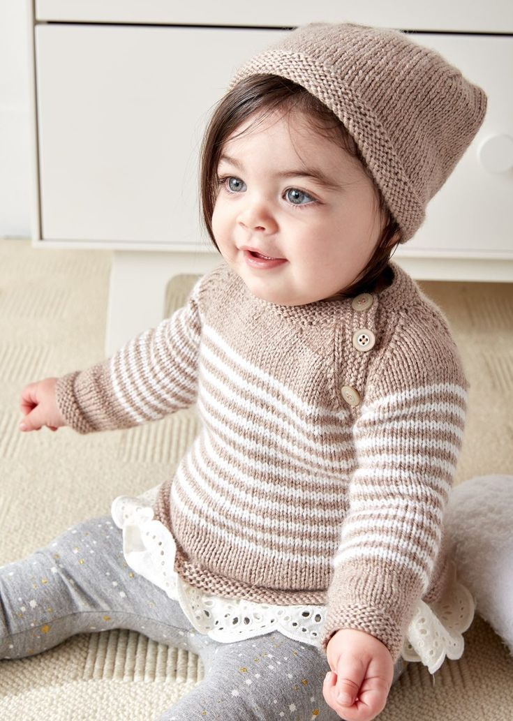 Free Knitting Pattern for Easy Wee Stripes Baby Sweater and Hat - Rated easy by Bernat, this matching hat and pullover sweater set iis sized for babies from 6 months to 2 years