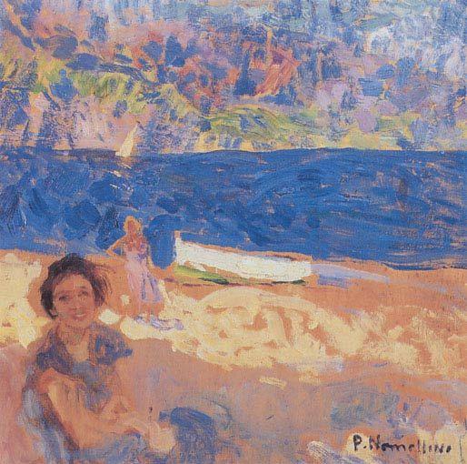 """Plinio Nomellini (Livorno, 1866 - Firenze, 1943), Il Mare di Genova. """"Sulla Spiaggia"""". tratto da """"Arte Liberty in Italia"""""""