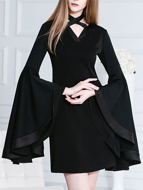 Chocker Butterfly Sleeves Mini Black Dress