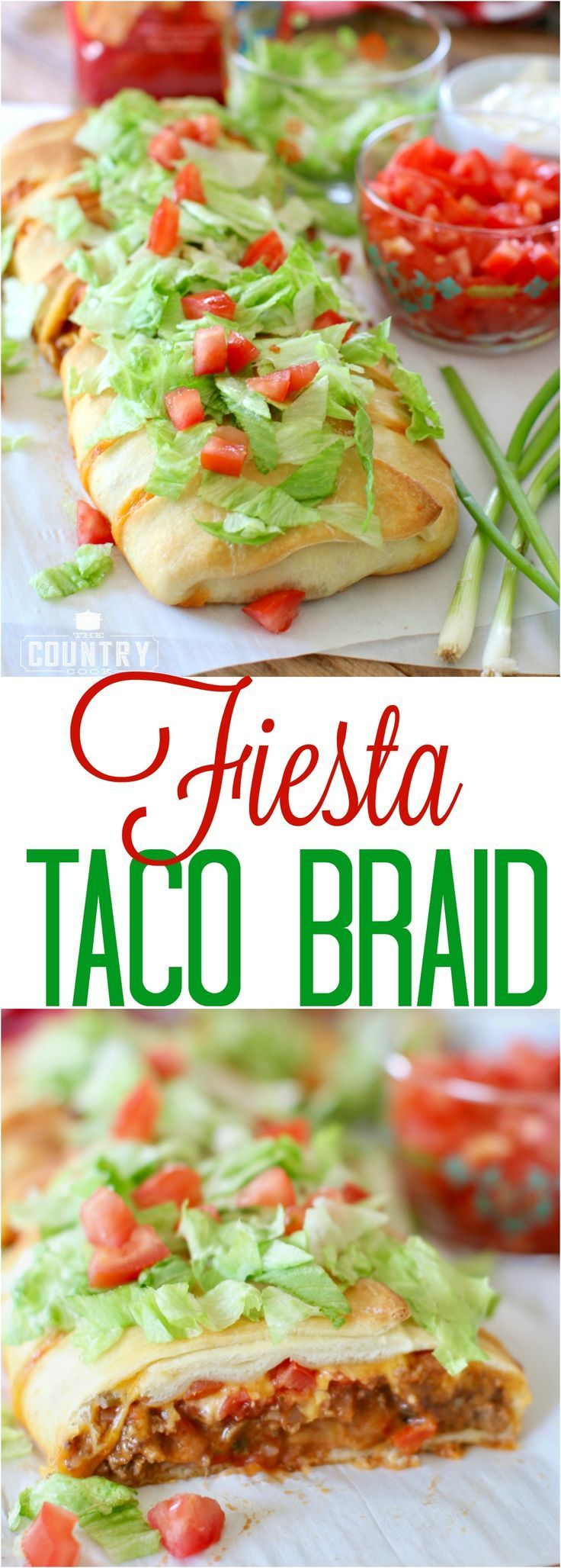 Fiesta Taco Braid recipe from The Country Cook. So simple and so yummy - a family favorite!