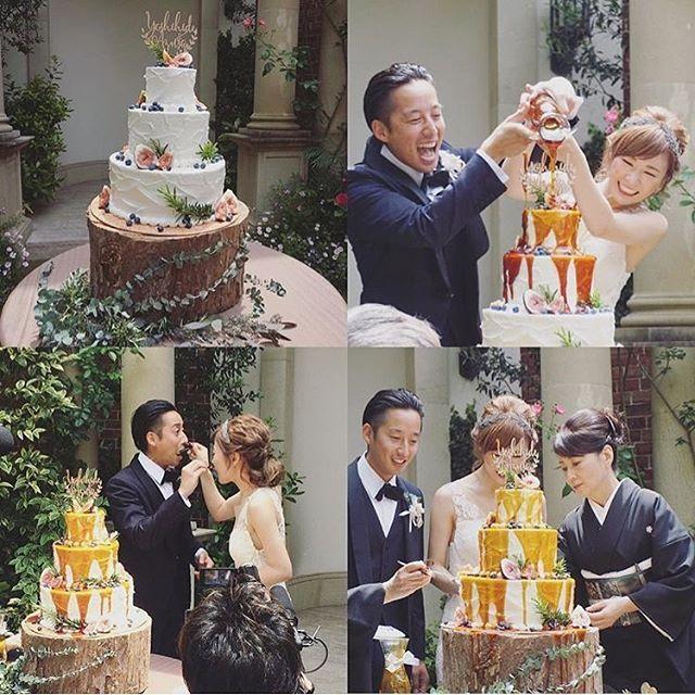 ❁ おしゃれすぎる演出をご紹介\♡/ シンプルなウェディングケーキに 新郎新婦2人でキャラメルソースをかけて ウェディングケーキが完成というもの♡ . このケーキのデザインも、 花嫁さん自らされたとか✨ キャラメルソースがきれいにとろんっと かかっていてオリジナルの #カラードリップケーキ ができあがる様子は ゲストも楽しんで見てくれること間違いなし . photo by @am_the_bride . #プレ花嫁 #結婚式準備 #ウェディングケーキ #ケーキカット #ファーストバイト #演出 #結婚式の演出 #marry #marryxoxo
