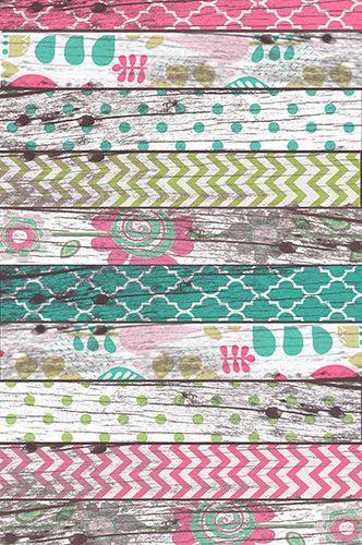 7503 Teal Pink Wood Patterned Floor Backdrop