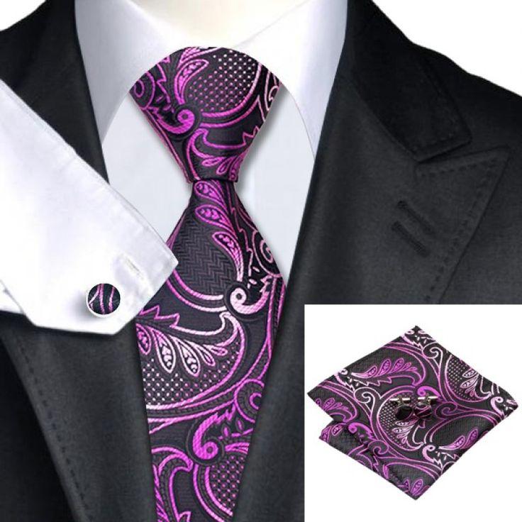 Галстук черный с розовым и фуксия цветами - купить в Киеве и Украине по недорогой цене, интернет-магазин