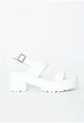 a13f987fa3b Missguided - Waverly White Platform Sandals