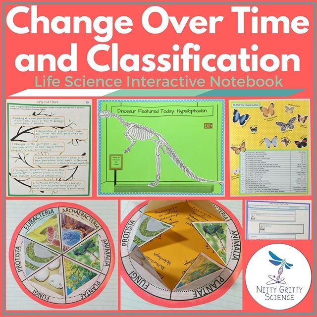 Life Science Interactive Notebook – Change Over Time & Classification include the following main concepts: •Darwin's Theory of Evolution •Evolution of Populations •The Fossil Record •Classification •Domains and Kingdoms