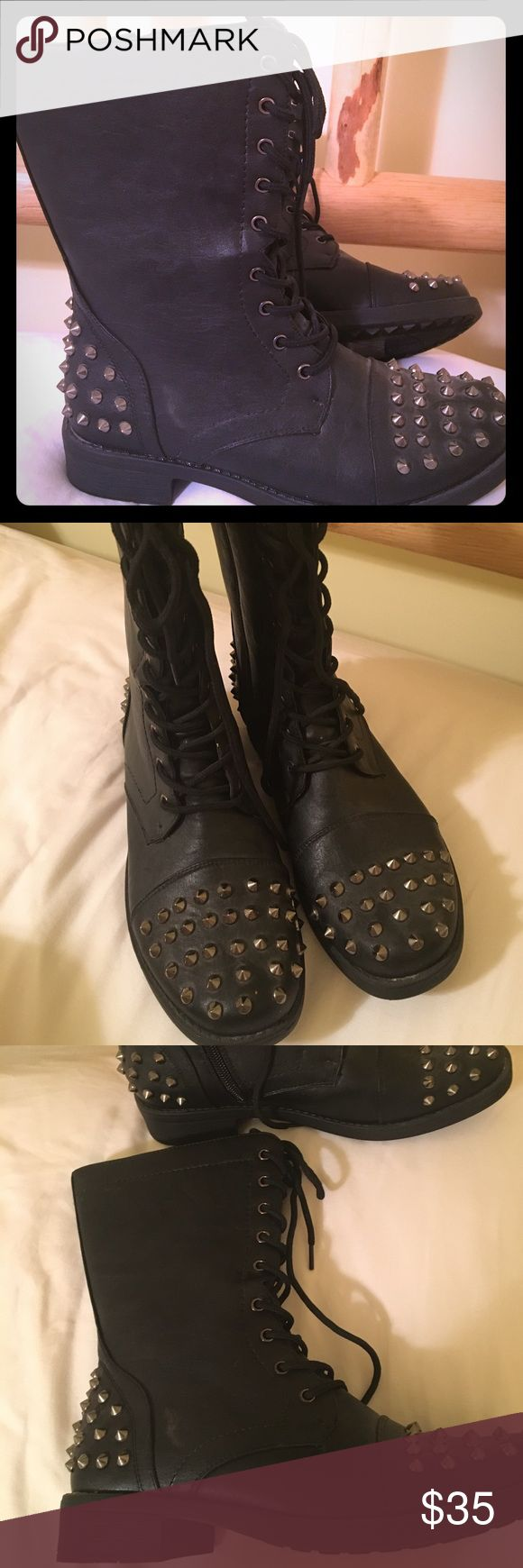 Women's stylish combat boots with spike detailing Very cute! Women's combat boots with unique spike detailing. New! Forever Shoes Combat & Moto Boots