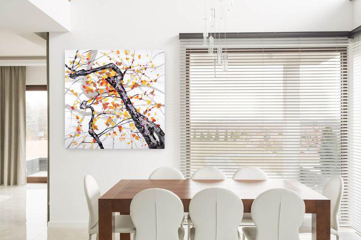 Acryl Gemälde 'Orangenblüten im Sonnenschein' 100x100cm