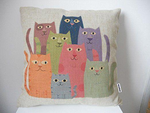 "Decorbox Cotton Linen Square Throw Pillow Case Decorative Fashion Cushion Cover Pillowcase Color Cats 18 ""X18 """
