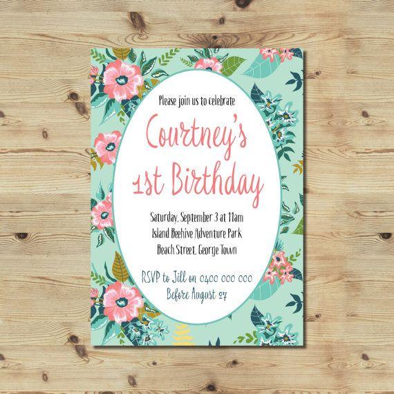 1st Birthday Invitation  Custom Made  Floral Invitation