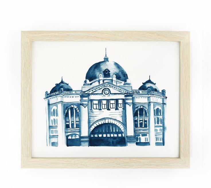 Flinders Street Station, Melbourne: Original Watercolour Painting by CarlaEllisCreative on Etsy