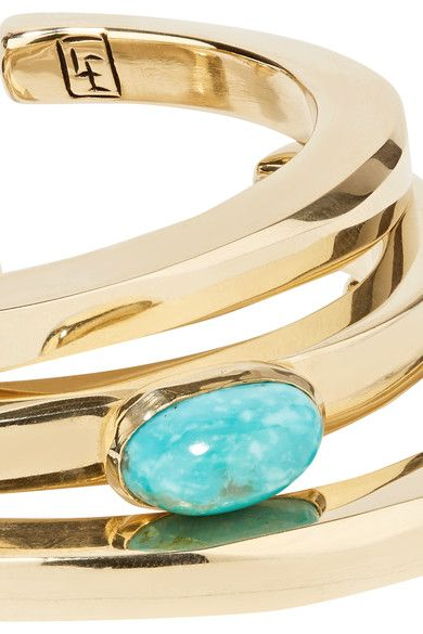 Lisa Eisner - Set Of Three Bronze And Turquoise Cuffs - Gold - one size