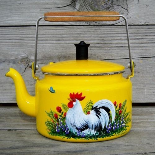 VTG Yellow Enamel Coffee Pot TEA KETTLE HP Rooster Art HandPainted Trish McMurry