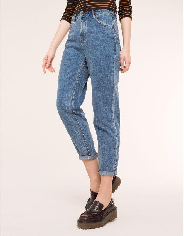 Pull&Bear - femme - jeans - jean mom taille haute - bleu sombre - 05682330-V2016