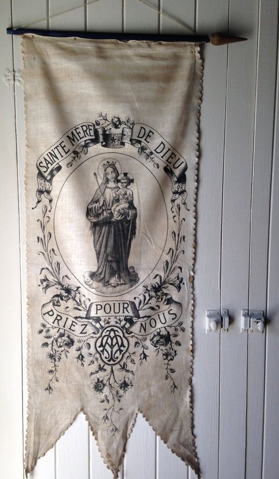 1800s antique French religious banner by histoireancienne on Etsy