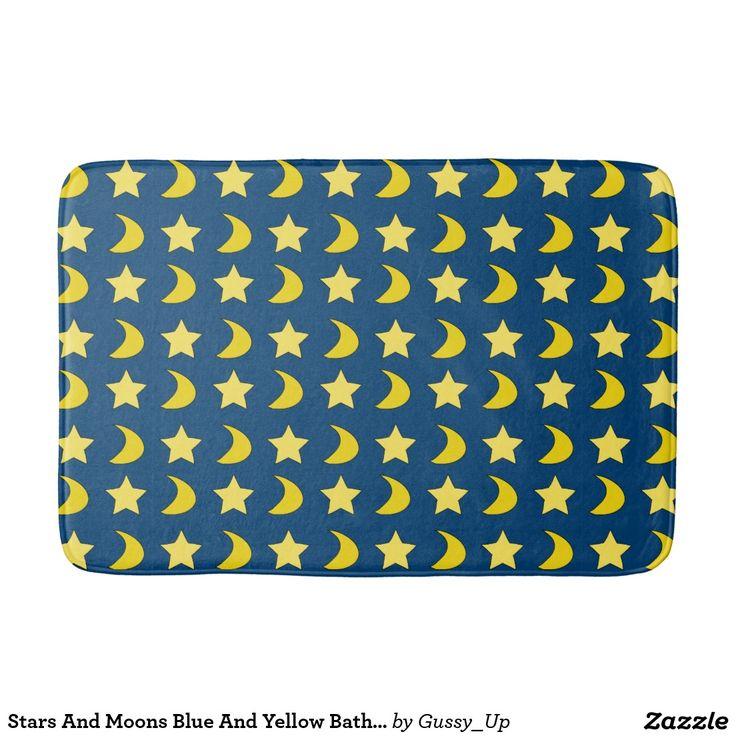 Stars And Moons Blue And Yellow Bath Mat  #BathMat #BlueAndYellow #StarAndMoons #BathroomDecor