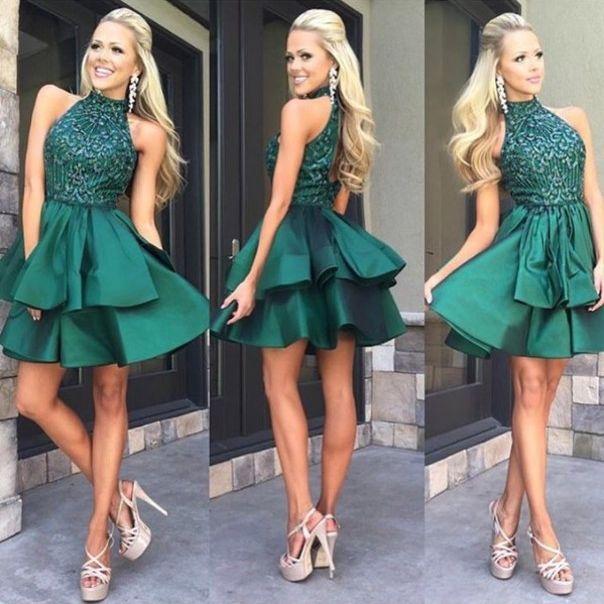 Green high neck sequin beaded short prom dress, cute homecoming dress - Sweetheart Girl Store Dresses