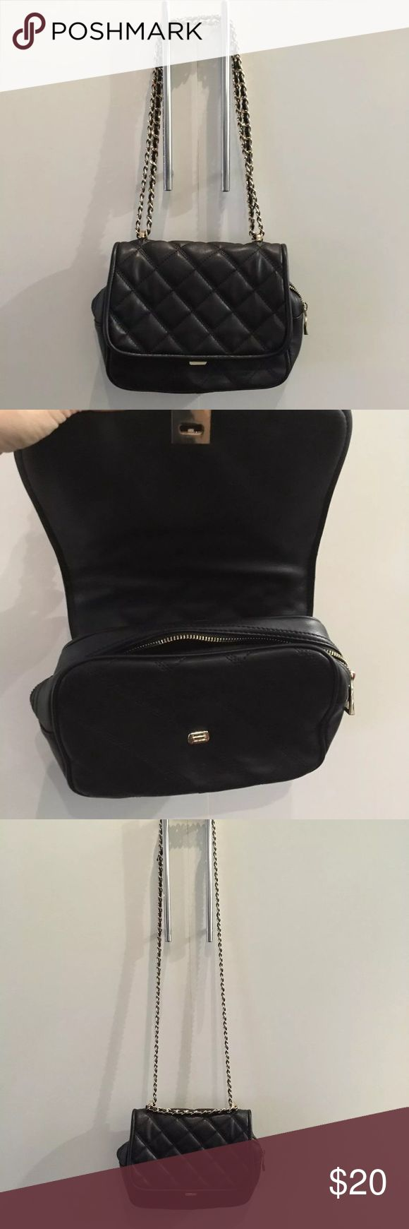 Zara black & gold quilted crossbody bag with chain Excellent condition Black quilted bag with gold chain similar look to Chanel.  Can be worn two ways: cross body or over the shoulder.  Vegan leather    Retail $60 Black Friday cyber Monday deal! Zara Bags Crossbody Bags
