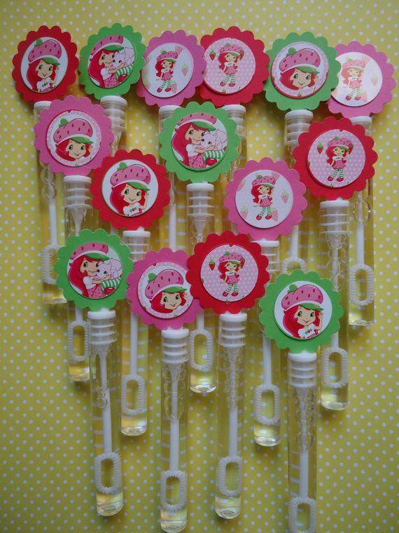 Strawberry Shortcake party favor bubbles, Strawberry Shortcake birthday favors, bubble wands set of 15