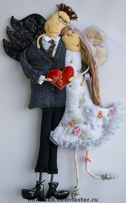 Подарки на свадьбу ручной работы. Ярмарка Мастеров - ручная работа. Купить Сердешные молодожёны. Handmade. Чёрно-белый, подарок на свадьбу