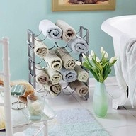 wine rack for towel storageDecor, Wine Racks, Towel Racks, Guest Bathroom, Towels Holders, Towels Storage, Towels Racks, Bathroom Ideas, Hands Towels