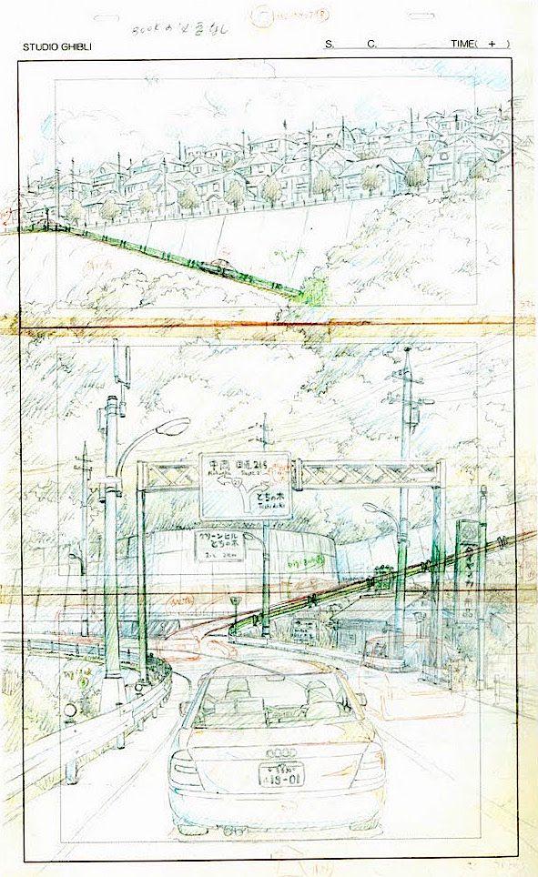 Film: Spirited Away (千と千尋の神隠し) ===== Layout Design - Scene: Up The Hill ===== Hayao Miyazaki