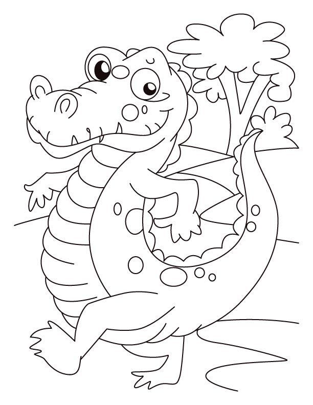 Alligator on evening walk coloring pages
