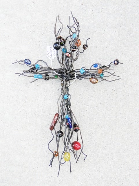 wire and bead wall cross