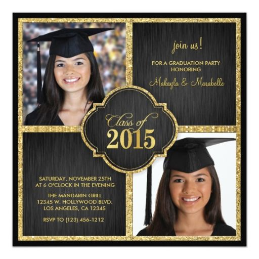 13 best twin graduation announcements images on pinterest twins elegant black gold glitter class of 2015 card graduation celebrationgraduation 2016graduation photosgraduation announcementsgraduation filmwisefo Image collections