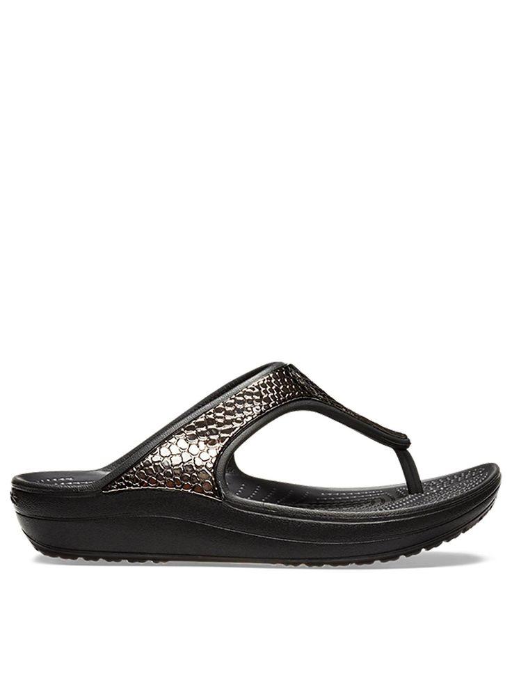 Crocs Women/'s Sloane MetalText Flip Gunmetal// Black