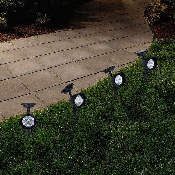 Pure Garden Outdoor Solar Yard Spot Lights   Set Of 4