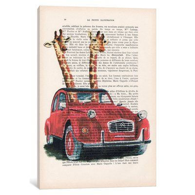 "East Urban Home ""Vintage Paper Series: Giraffen in French Red Car"" Grafik-Kunstdruck auf Leinwand"