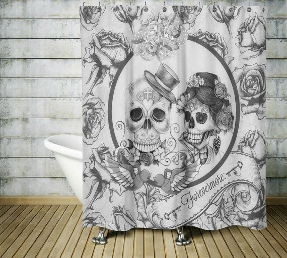 Sugar Skull Shower Curtain ,Forevermore Black and White, Gothic, Day Of The Dead