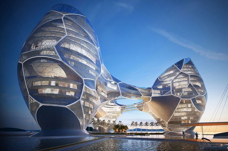 The luxurious Ocean Nebula Hotel concept is located in New Zealand, and is situated on shallow waters a few miles from the main city. The isolated location requires individuals to travel by boat, making the hotel more than just a place to stay but also a spectacular and unique destination.