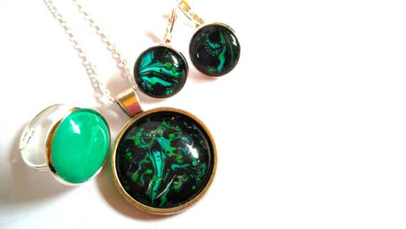 #Exclusive #unique #green #black #turquoise #jewelry set #dangle #earrings #adjustable #ring #necklace #space #oddity #love #gift #anniversary #special #wedding #engagement #birthday #mothersday  jewelry #mother #daughter #girl #friend #girlfriend #bride #sister #aunt #music #lover  jewelryagnes.etsy.com